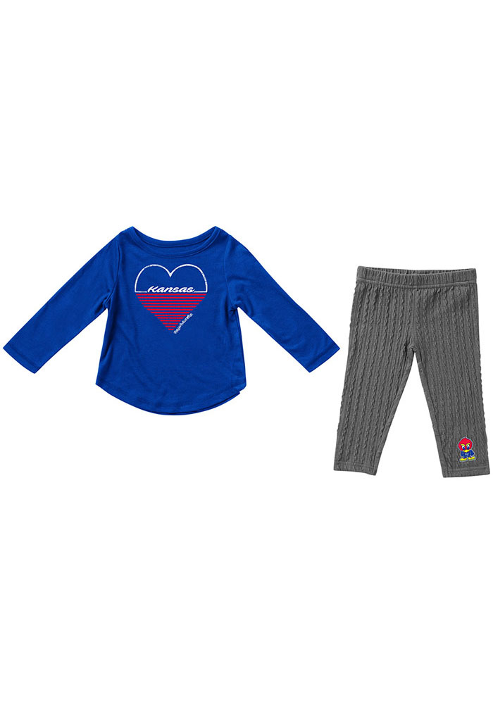 Colosseum Kansas Jayhawks Infant Girls Blue Sweetums Set Top and Bottom - Image 1