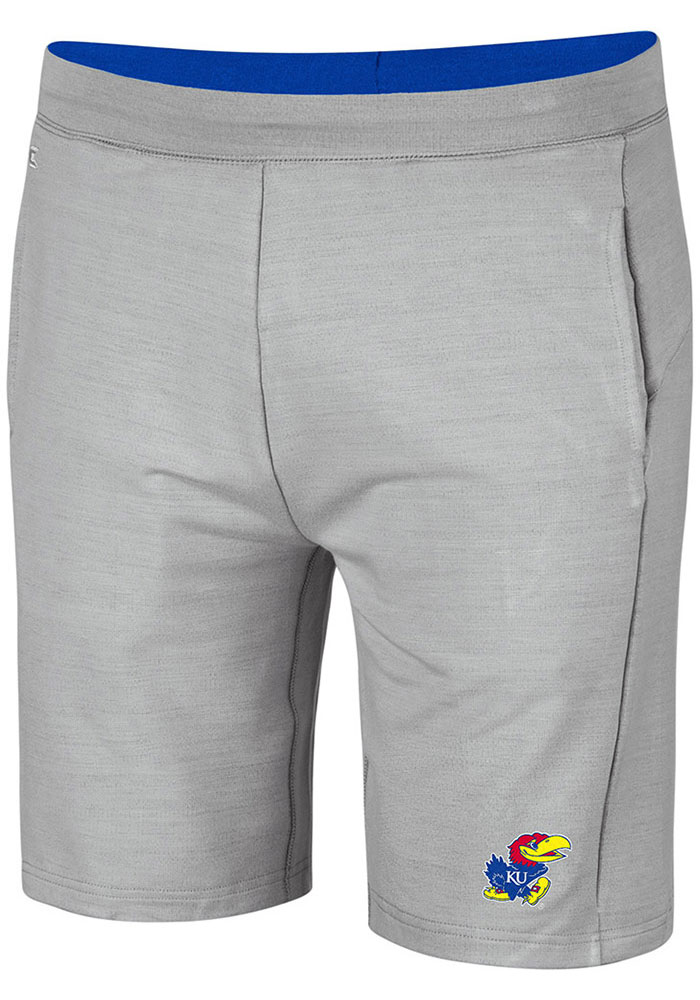Colosseum Kansas Jayhawks Mens Grey Stake Out Shorts - Image 1