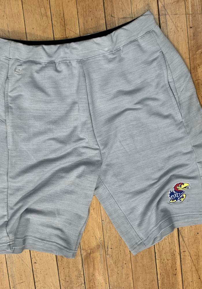 Colosseum Kansas Jayhawks Mens Grey Stake Out Shorts - Image 2