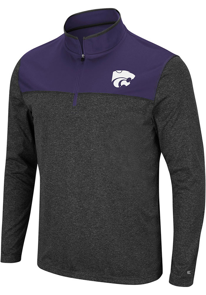 Colosseum K-State Wildcats Mens Grey Rangers Long Sleeve 1/4 Zip Pullover - Image 1
