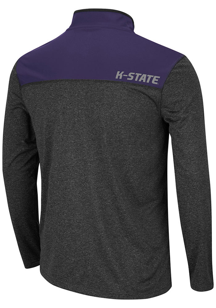 Colosseum K-State Wildcats Mens Grey Rangers Long Sleeve 1/4 Zip Pullover - Image 2