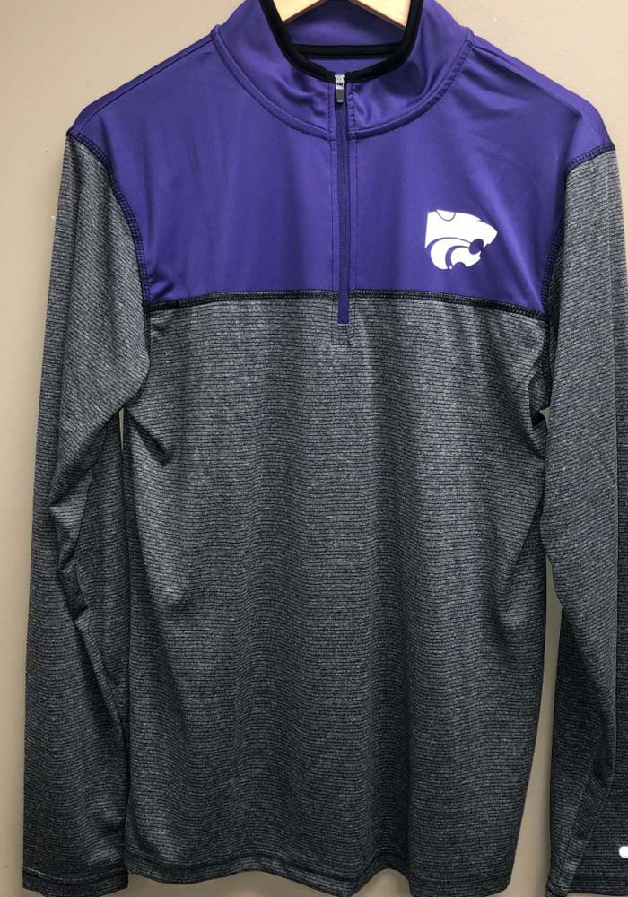 Colosseum K-State Wildcats Mens Grey Rangers Long Sleeve 1/4 Zip Pullover - Image 3