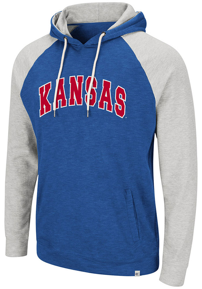 Colosseum Kansas Jayhawks Mens Blue Camping Long Sleeve Hoodie - Image 1