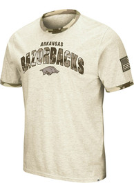 Arkansas Razorbacks Colosseum Operation Hat Trick Camo Ringer T Shirt - Grey