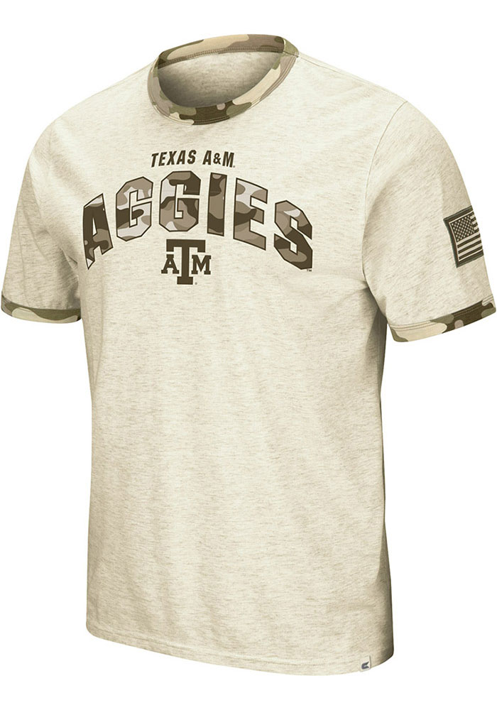 Texas A&M Aggies Colosseum Operation Hat Trick Camo Ringer T Shirt - Grey