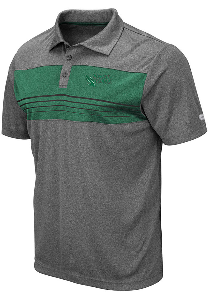 Colosseum North Texas Mean Green Mens Grey Smithers Short Sleeve Polo - Image 1