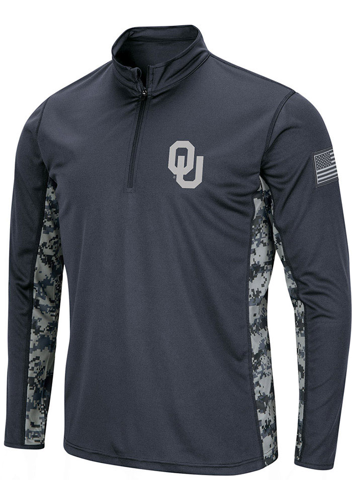 Oklahoma Sooners Colosseum Operation Hat Trick Camo 1/4 Zip Pullover - Grey