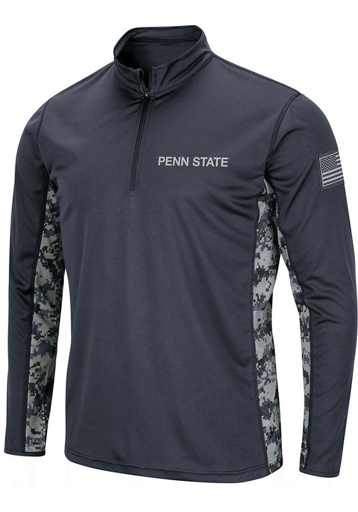 Colosseum Penn State Nittany Lions Mens Grey Operation Hat Trick Camo Long Sleeve 1/4 Zip Pullover - Image 1