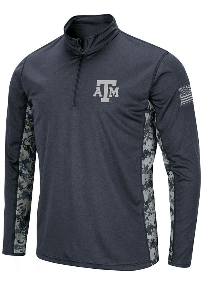 Texas A&M Aggies Colosseum Operation Hat Trick Camo 1/4 Zip Pullover - Grey