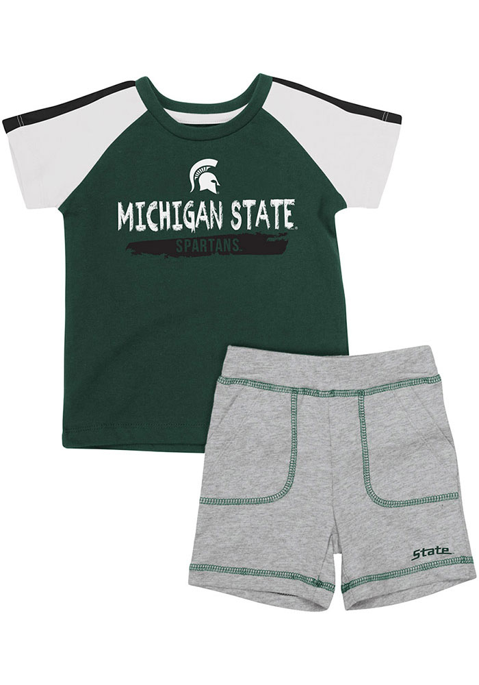 Colosseum Michigan State Spartans Infant Green Square Set Top and Bottom - Image 1