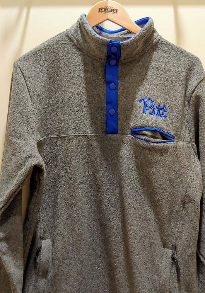 Colosseum Pitt Panthers Mens Grey Carter Long Sleeve 1/4 Zip Pullover - Image 2
