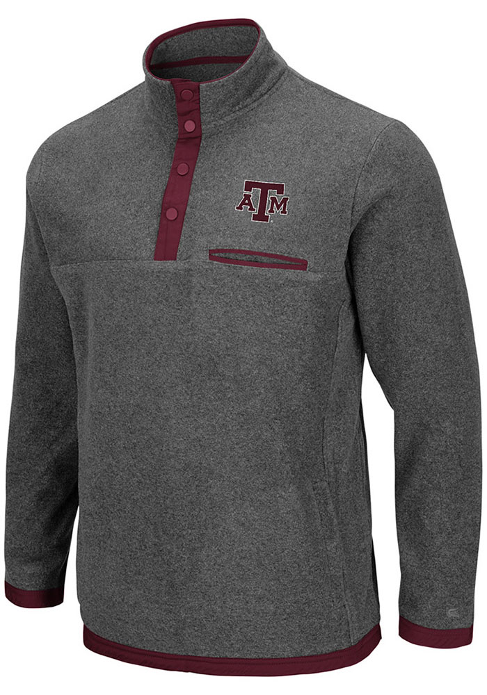 Colosseum Texas A&M Aggies Mens Grey Carter Long Sleeve 1/4 Zip Pullover - Image 1