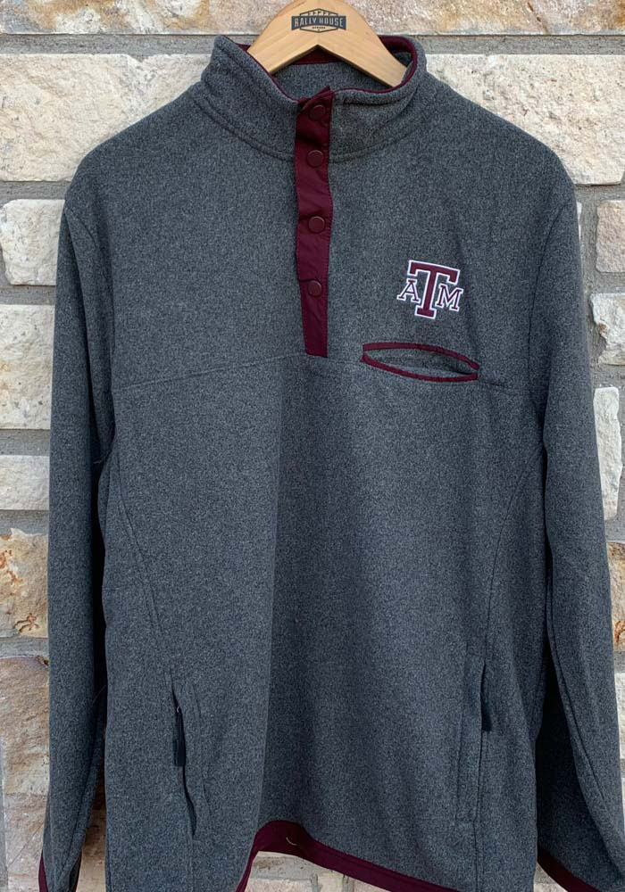 Colosseum Texas A&M Aggies Mens Grey Carter Long Sleeve 1/4 Zip Pullover - Image 2