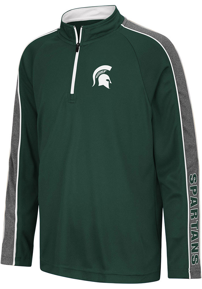 Colosseum Michigan State Spartans Youth Green Clamu Long Sleeve Quarter Zip Shirt - Image 1