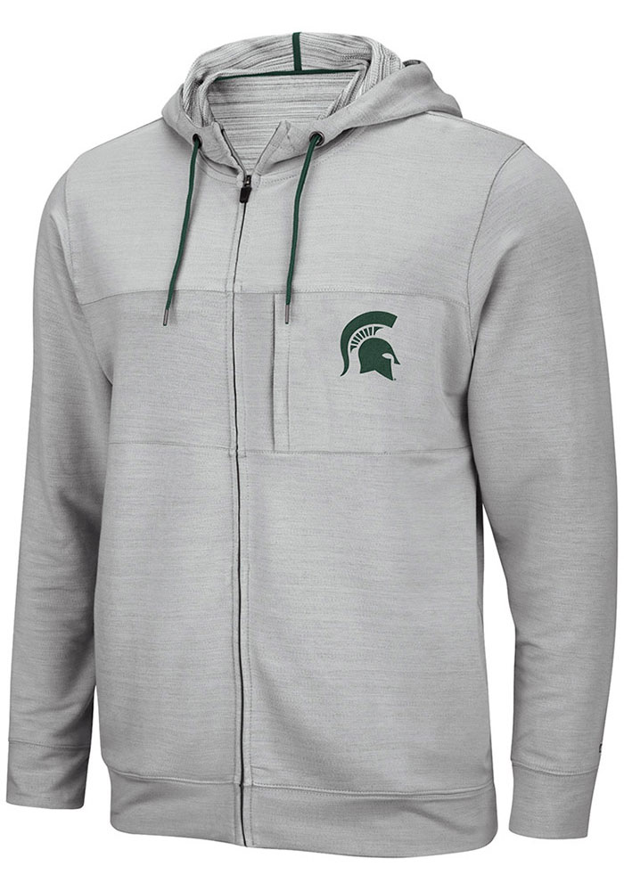Colosseum Michigan State Spartans Mens Grey Challenge Accepted Long Sleeve Zip - Image 1