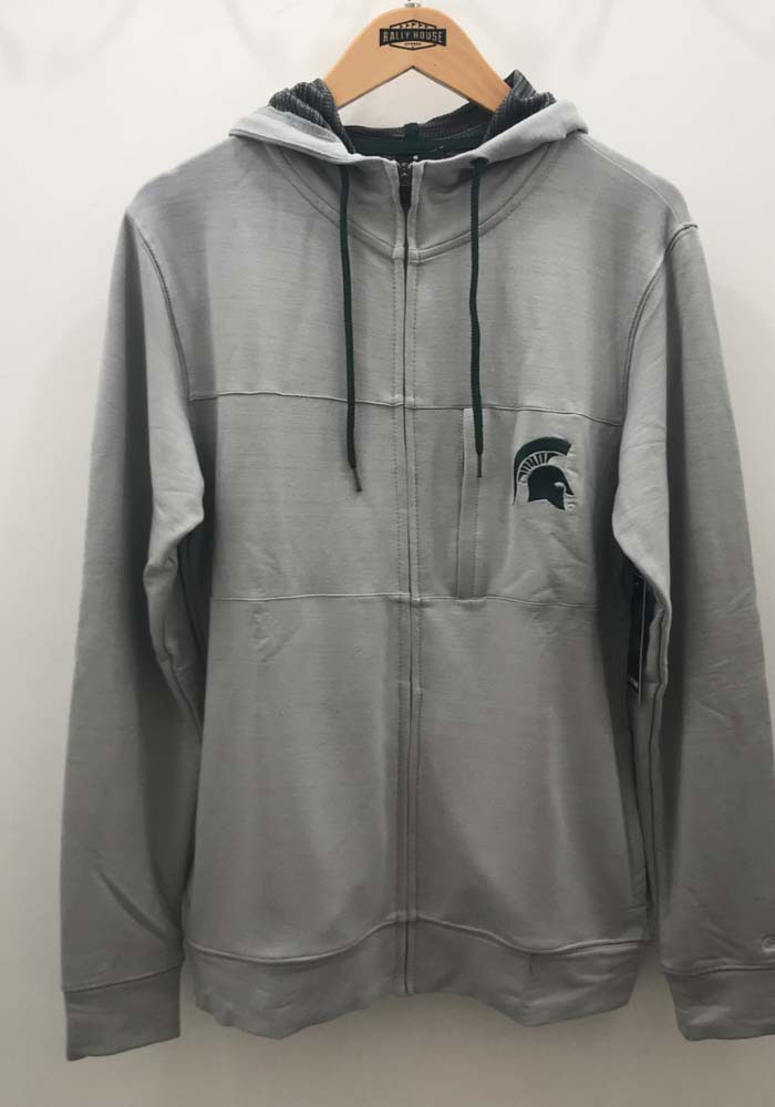 Colosseum Michigan State Spartans Mens Grey Challenge Accepted Long Sleeve Zip - Image 2