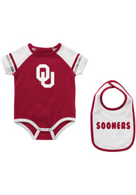 Oklahoma Sooners Baby Colosseum Warner One Piece with Bib - Cardinal
