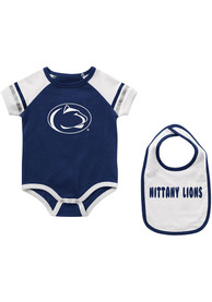 Penn State Nittany Lions Baby Colosseum Warner One Piece with Bib - Navy Blue