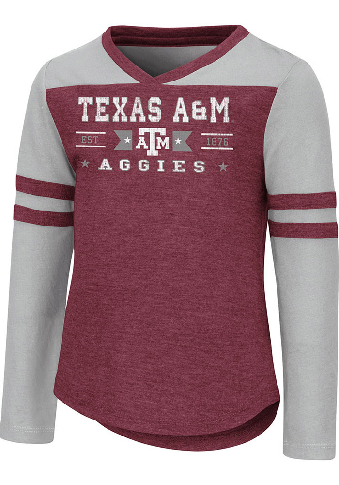Colosseum Texas A&M Aggies Toddler Girls Maroon Star Long Sleeve T Shirt - Image 1
