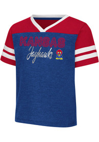 Kansas Jayhawks Toddler Girls Colosseum Sky Flowers T-Shirt - Blue