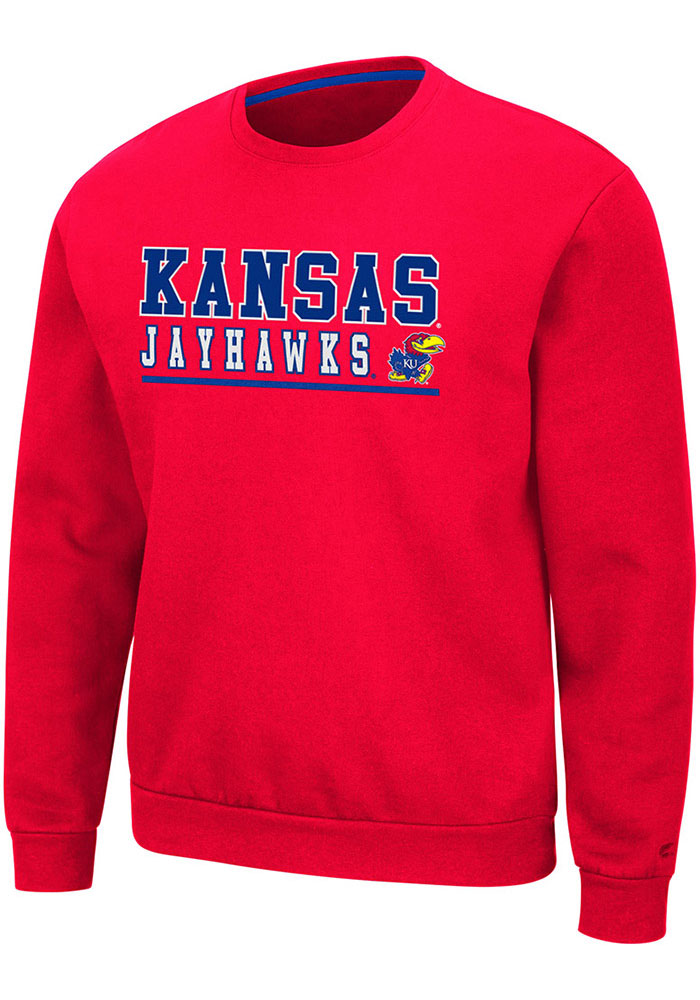 Colosseum Kansas Jayhawks Mens Red Rally Crewneck Long Sleeve Crew Sweatshirt - Image 1