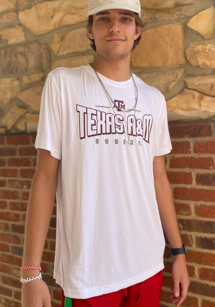 Colosseum Texas A&M Aggies White Hooked Short Sleeve T Shirt - Image 3