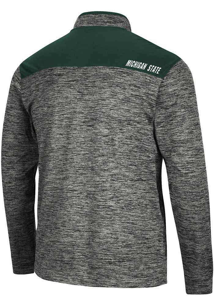 Colosseum Michigan State Spartans Mens Charcoal Brooks Long Sleeve 1/4 Zip Pullover - Image 2