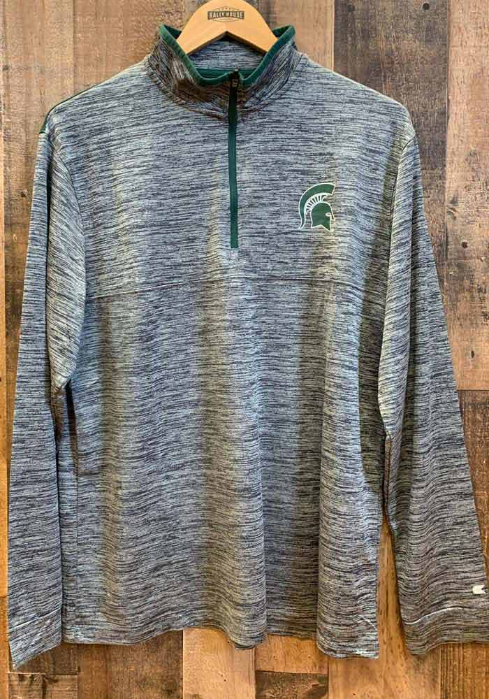 Colosseum Michigan State Spartans Mens Charcoal Brooks Long Sleeve 1/4 Zip Pullover - Image 3