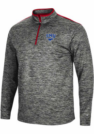 SMU Mustangs Colosseum Brooks 1/4 Zip Pullover - Charcoal