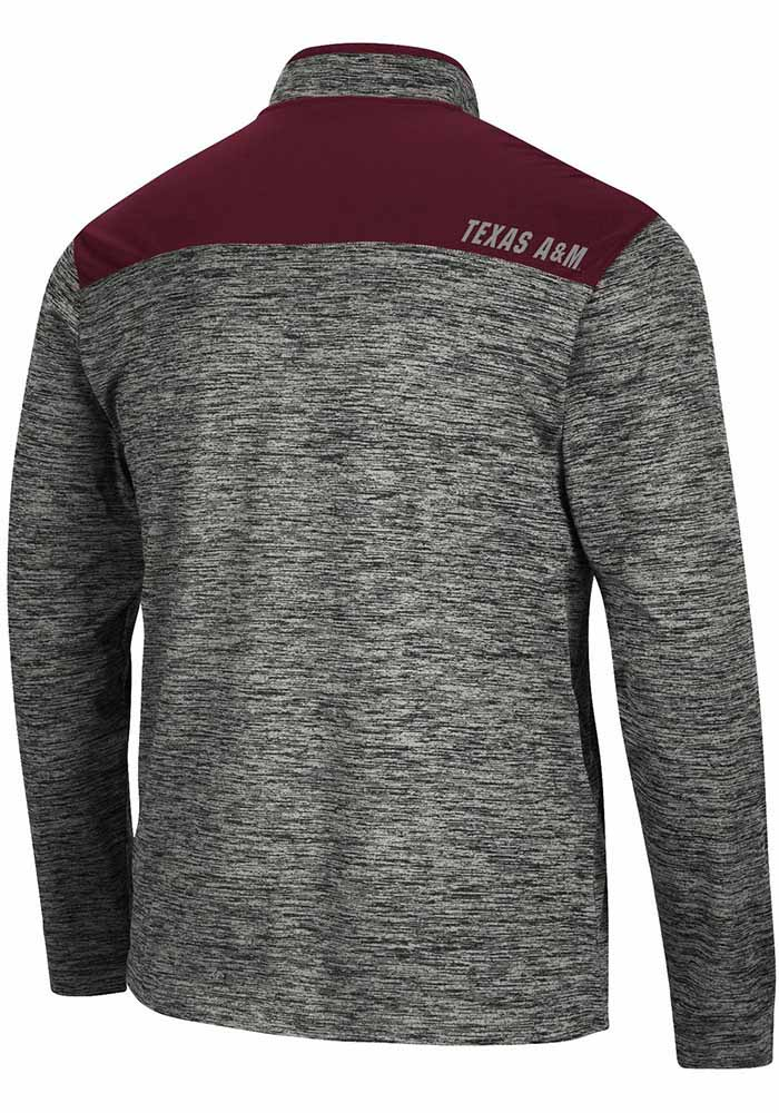 Colosseum Texas A&M Aggies Mens Charcoal Brooks Long Sleeve 1/4 Zip Pullover - Image 2