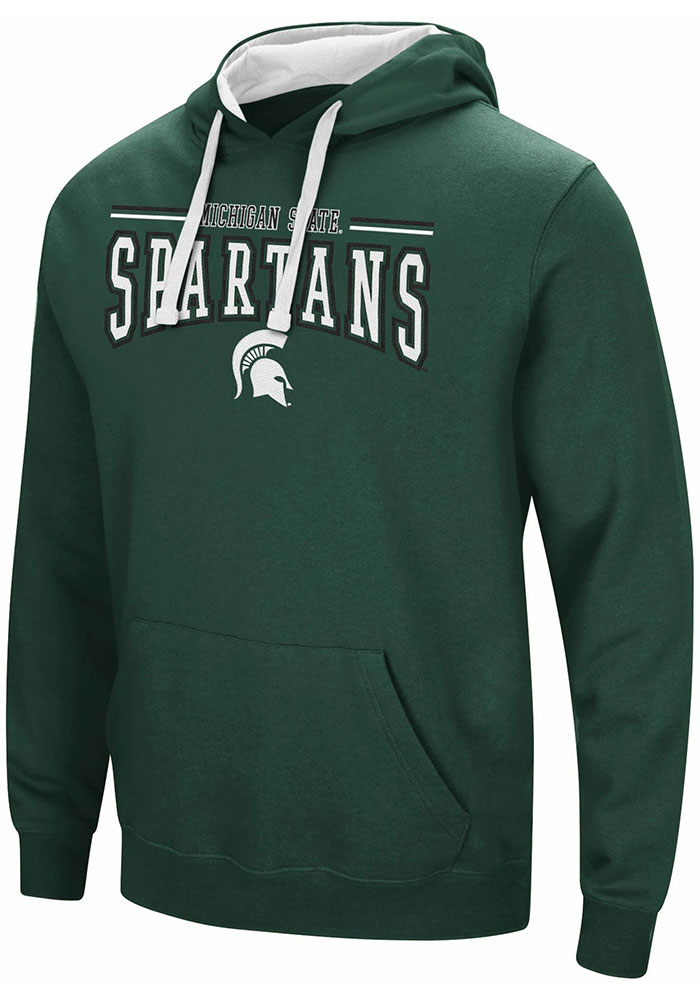 Colosseum Michigan State Spartans Mens Green Graham Long Sleeve Hoodie - Image 1