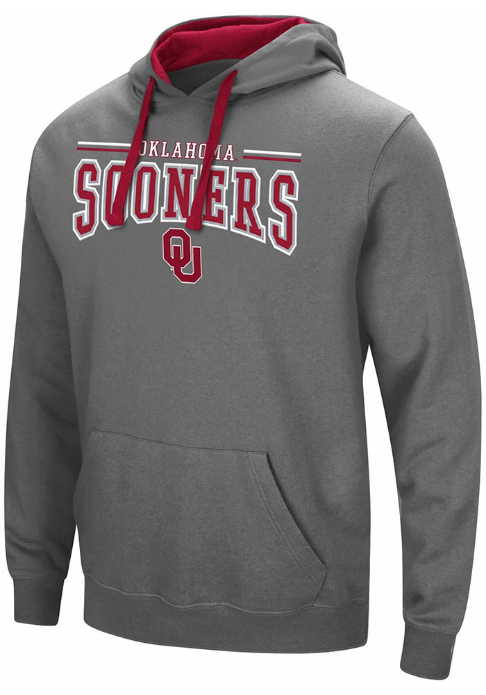 Colosseum Oklahoma Sooners Mens Charcoal Graham Long Sleeve Hoodie - Image 1