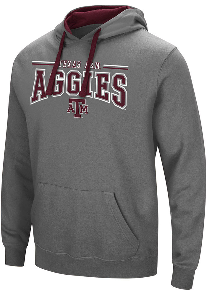 Colosseum Texas A&M Aggies Mens Charcoal Graham Long Sleeve Hoodie - Image 1