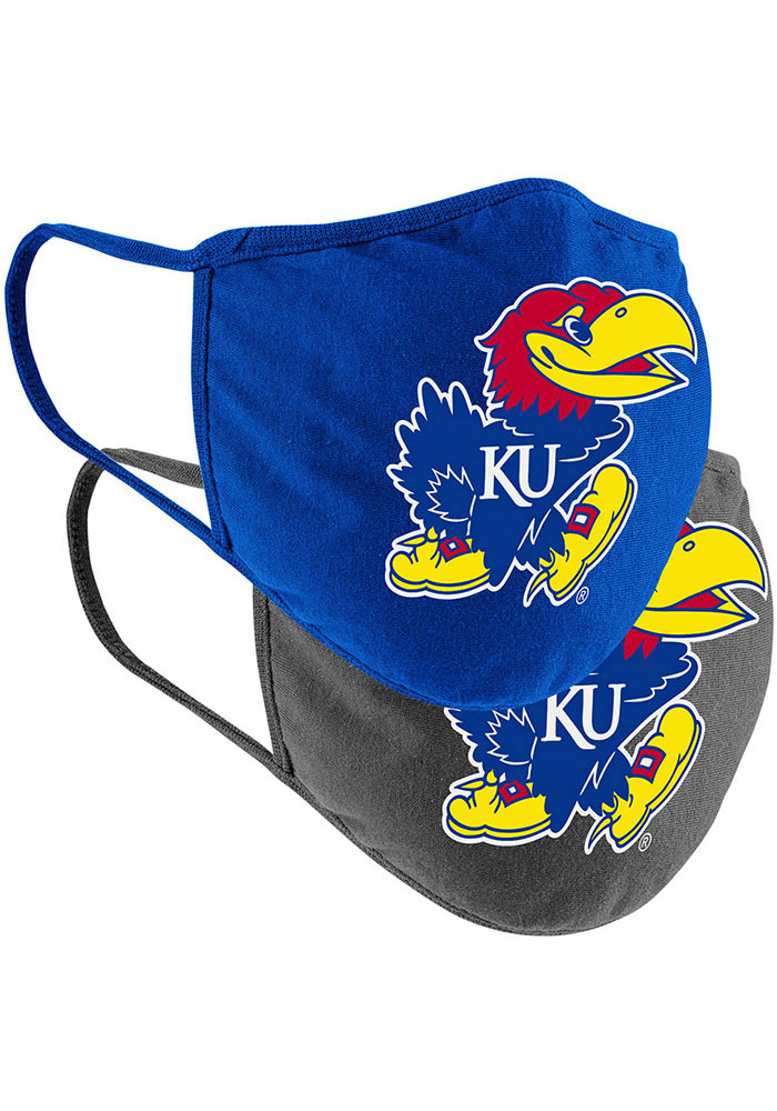 Colosseum Kansas Jayhawks TC and Grey 2pk Fan Mask - Charcoal
