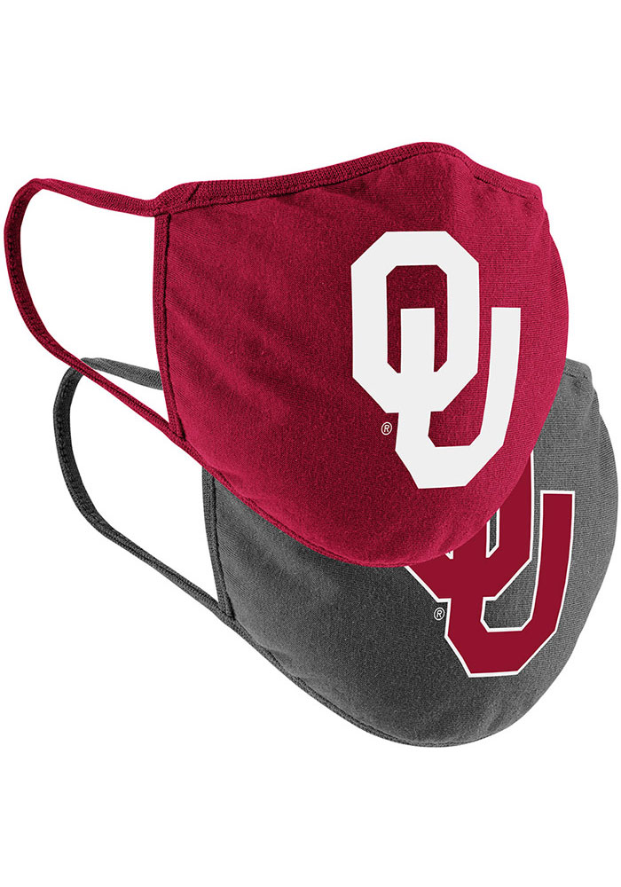 Colosseum Oklahoma Sooners TC and Grey 2pk Fan Mask - Red