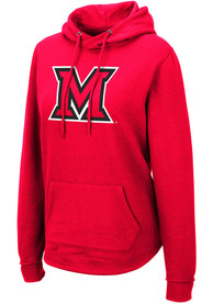 Miami RedHawks Womens Colosseum Crossover Hooded Sweatshirt - Red