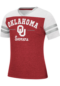 Oklahoma Sooners Girls Colosseum Pearl Fashion T-Shirt - Crimson