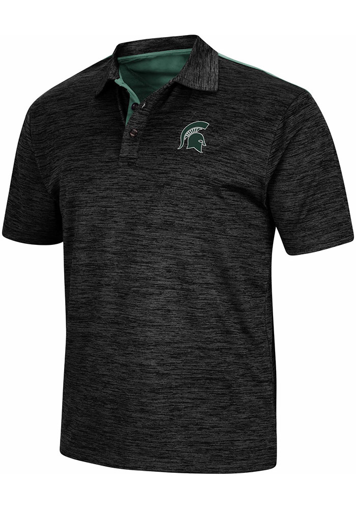 Colosseum Michigan State Spartans Mens Charcoal Burrow Short Sleeve Polo - Image 1