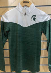 Colosseum Michigan State Spartans Youth Charcoal Hercules Long Sleeve Quarter Zip Shirt