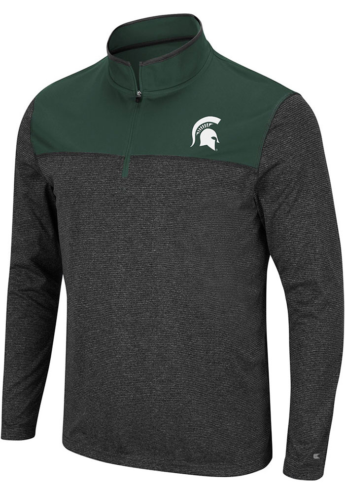 Colosseum Michigan State Spartans Mens Black Rangers Long Sleeve 1/4 Zip Pullover - Image 1