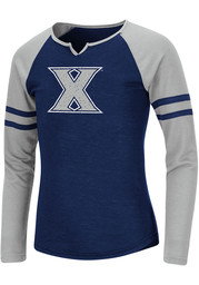 Colosseum Xavier Musketeers Girls Navy Blue Andy Long Sleeve T-shirt