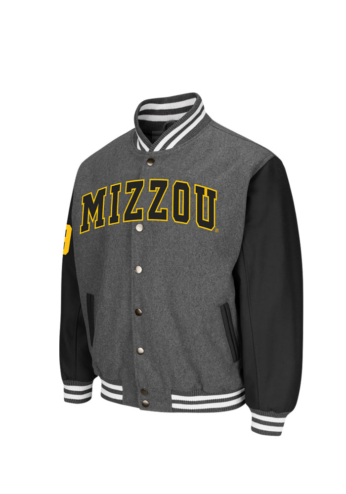 Colosseum Missouri Tigers Mens Grey Class Letterman 2 Heavyweight Jacket - Image 1