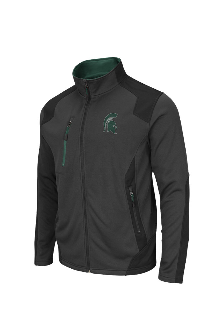 Colosseum Michigan State Spartans Mens Grey Double Coverage Light Weight Jacket - Image 1