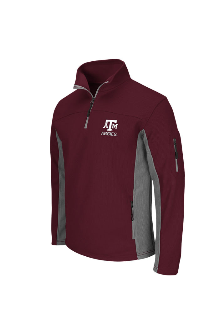Colosseum Texas A&M Aggies Mens Maroon Plow 3 Long Sleeve 1/4 Zip Pullover - Image 1