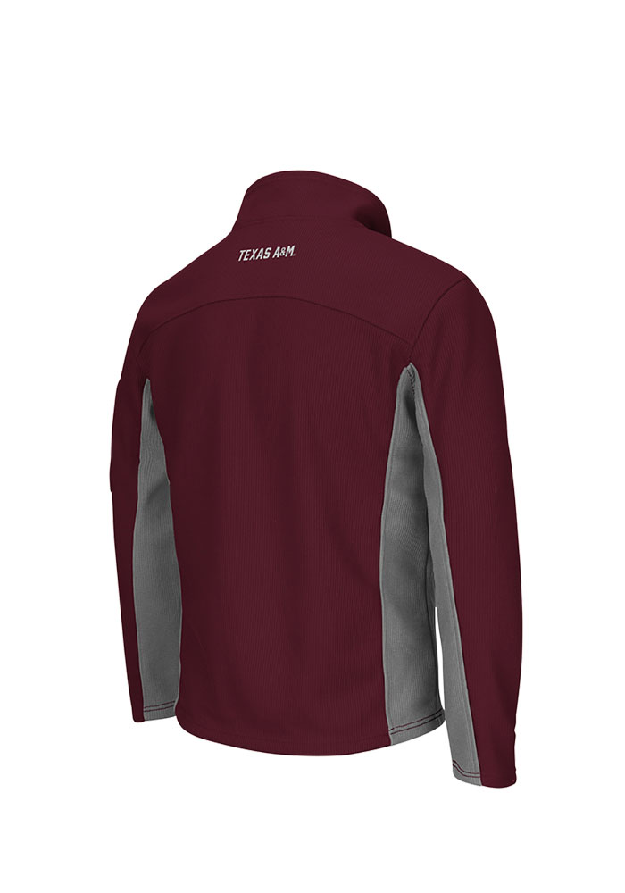 Colosseum Texas A&M Aggies Mens Maroon Plow 3 Long Sleeve 1/4 Zip Pullover - Image 2