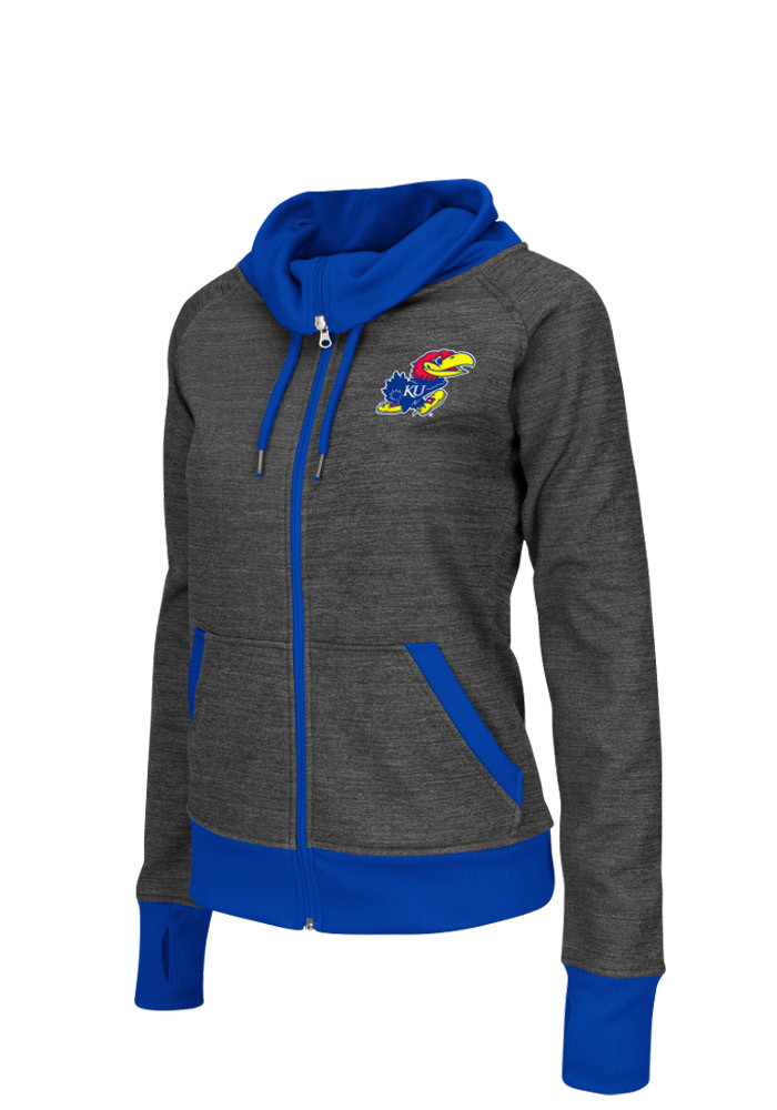Colosseum Kansas Jayhawks Womens Grey Velocity Long Sleeve Track Jacket - Image 1