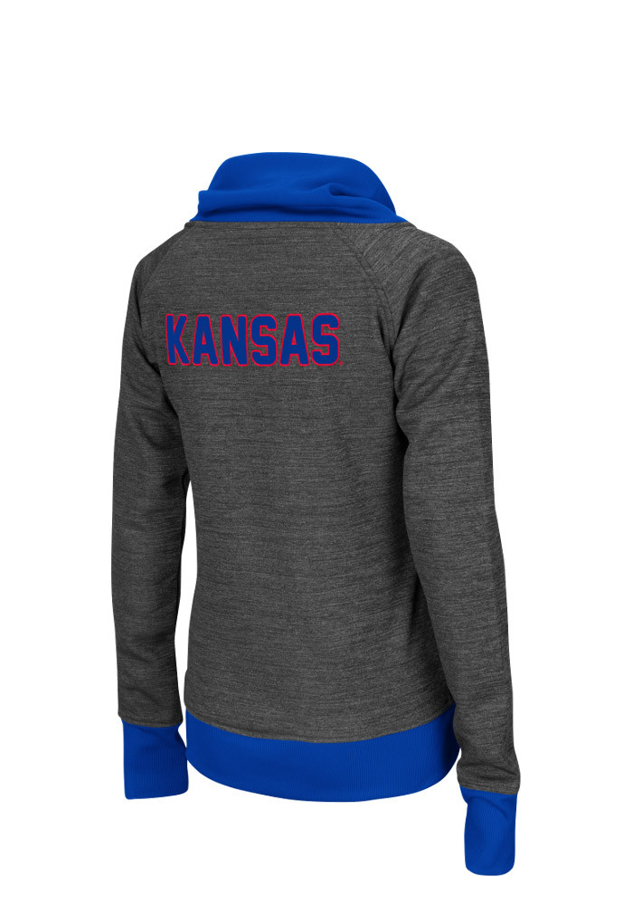 Colosseum Kansas Jayhawks Womens Grey Velocity Long Sleeve Track Jacket - Image 2