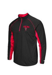 Colosseum TTech Red Raiders Mens black Lineman 1/4 Zip Performance Pullover