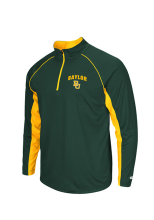 Colosseum Baylor Mens Green Lineman 1/4 Zip Performance Pullover