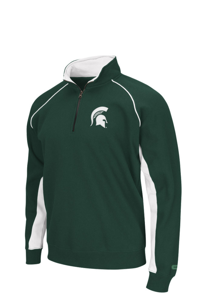 Colosseum Michigan State Spartans Mens Green Crest Long Sleeve 1/4 Zip Pullover - Image 1